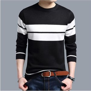 BROWON Knitted Sweater Men Clothing Autumn Winter Casual O-Neck Long Sleeve Sweaters Spliced Color Slim Fit Men Sweater Pullover