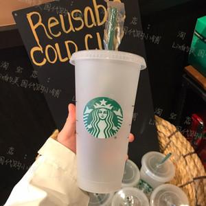 ستاربكس 24 أوقية / 710 ملليلتر البلاستيك بهلوان قابلة لإعادة الاستخدام شرب شرب شقة أسفل كوب عمود شكل غطاء القش القدح بارديان 5 قطع شحن مجاني