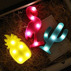 3D Cartoon Pineapple Flamingo Cactus Shape LED Night Light Lamp Christmas Decor Buy more discounts Gift