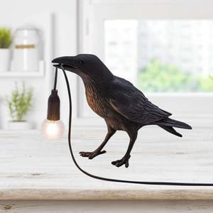 Auspicious Bird Resin Table Lamp Nordic Creative Bedside Bird Night Light Bedroom Study Animal Shape Desk Lamp Store Decoration Table Lights