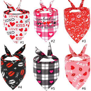 Valentines Day Dog Bandanas Double Sided Pet Triangle Scarf Dog Saliva Towel Pet Supplies Valentines Day Supplies FFD4206