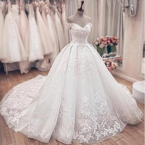 Gorgeous Lace Ball Gown Wedding Dresses Princess Off The Shoulder Lace Up Back Muslim Marrige Wedding Gowns Ball Gowns