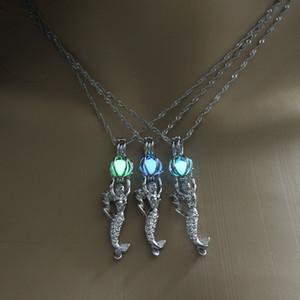 Mode Glow in den dunklen Halsketten Hohl leuchtend offene Meerjungfrau Pearl Käfig Anhänger Medailate Charme Halskette für Frauen S Schmuck Geschenke 321 G2