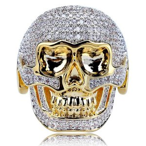 Hip Hop Mode Hommes, S personnalité crâne anneau hommes '; S Nouveau diamant Cz Bague Punk de haute qualité Bling Ring Taille 7 -14