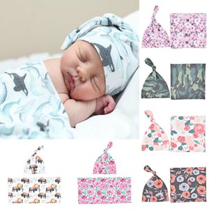 7 Colors Newborn Blankets Sleeping Bag Baby Cotton Swaddle 2Pc Set Hat + Swaddle Animal Cow Whale Floral Printing Blankets M2968