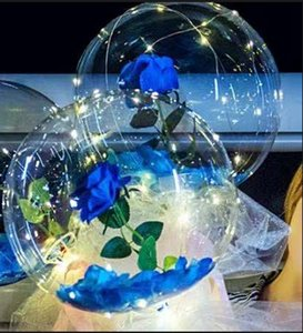 LED Bobo Balloon Luminous Rose Bouquet Light Transparent Bubble Rose Ball Valentines Day Gift Birthday Party Wedding Decor by sea GGA3845