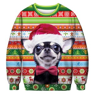 Unisex Christmas Sweatshirt, Mens Womens Funny 3D Print Sweatershirt, Xmas Party Pullover Long Sleeve Shirts 201019