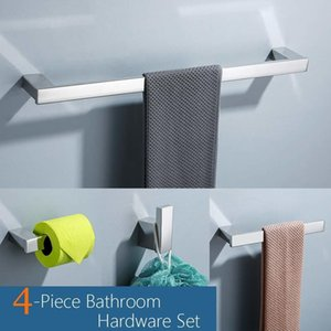 4-teiliges Badezimmer-Zubehör-Set Edelstahl Toilettenpapierhalter Handtuchstange Robe Haken Handtuchhalter Wandhalterung, poliertes Finish LJ201211