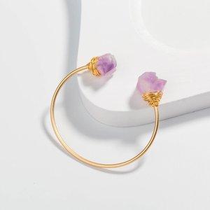 10 Pcs populaire forme irrégulière Améthyste Pierre et Pearl ouvert Bracelet pour femmes Bijoux plaqué or