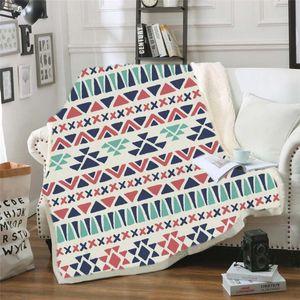 Geometric Stripe Printed Throw Blanket Bedspread Velvet Plush Sherpa Sofa Blanket Aztec Bedding Christmas Decorations for Home