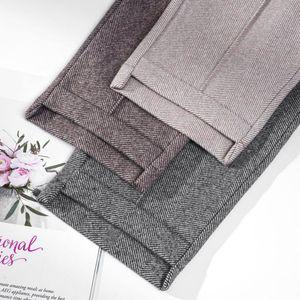Autumn Winter Women's Pants Loose Harem Pants Female Fashion Warm Thick Wide Leg Pants High Waisted Suit Trousers for Women 201228