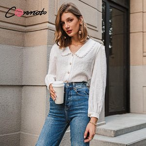 Conmoto Elegant white autumn winter women blouse Vintage doll collar long sleeve female shirt New fashion pocket blouse 2020