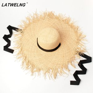 Long Ribbon Banded Raffia Hats For Women and children Fashion Dome Oversized Beach Hat Outdoor Summer Shade Sun Hat Parent-child 201013