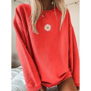 Herbst Daisy Printed Pullovers Sweatshirts Frauen O Neck Langarm Streetwear Lose Übergröße Sweatshirt Sweatshirt Weibliche 201203