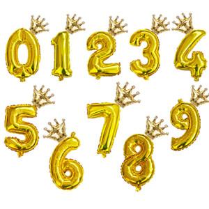 2pcs / комплект 32inch номер Радуга Фольга Воздушные шары воздушный шар день рождения украшения дети розовое золото розовый серебряный синий 0-9