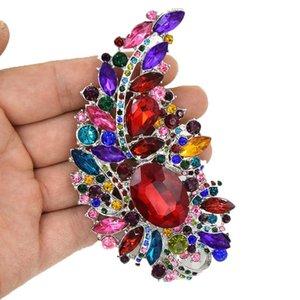 4 +0,4 Inch Огромный люкс Брошь Big прозрачные кристаллы Rhinestonee Свадебные Pins Броши Новое прибытие высокого качества Потрясающие Diamante Женщины Pi