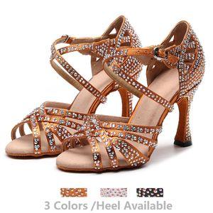 Recreational Jazz Salsa Ballroom Latin Dance Shoes For Dancing Women Professional Cow Outsole High Heels 1046 Summer Sandals 201007