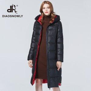 Diaosnowly 2020 Новый Толстые куртки с капюшоном Outwear Пальто для женщин Теплый Длинные Parka Мода зимние одежды