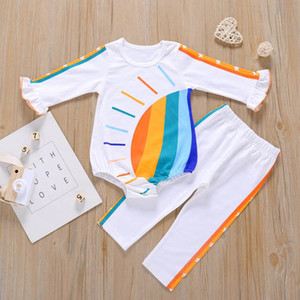 Hot sale rainbow baby girls suits Infant Outfits baby girl designers clothes long sleeve baby romper+pants 2pcs wholesale B3294