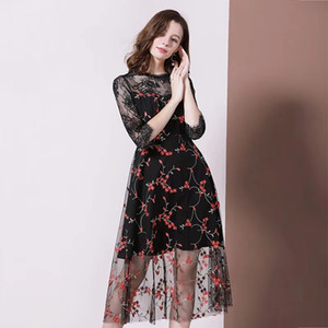 Hot Sale women fall sexy party dress luxury designer lace flower dresses womens embroidered flowers Dress gauze empire black Dresses