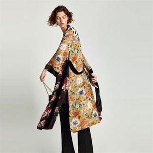 Женщины Цветочный принт Кимоно Кардиган Блуза Блуза Бандаж Летний Праздник Пляж Обложка UP Boho Длинные Свободные Повседневные Рубашки Халат с поясом LJ200811