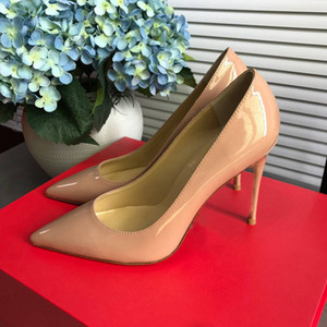 2021 Fashion Red Bottom High Heels Ladies Nude Color Pointed Sandals Banquet Stylist Shoes Party Dress Shoes Summer Studded Leather Shoes