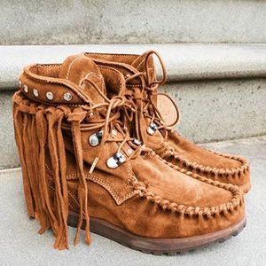 Vintage Kadınlar Bilek Boots Flats Ayakkabı Patik Gladyatör Vintage Sahte Süet Yuvarlak Burun Lace Up Ayakkabı Püsküller Botaş Mujer Büyük Boyut