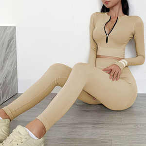 Fashion Autumn Pant Womens Sexy Sport Pant Suit Gymshark Sportwear Tracksuit Fitness Outfit Yoga Piece Top Set Gymwear Leggings Two Des Dmfq