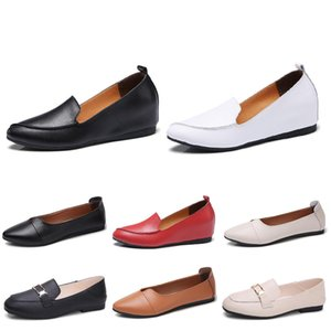 Fashion women leather shoes triple color red white black brown beige trend breathable women jogging shoes flats sneakers