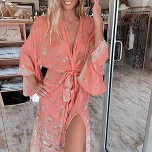 Boho Inspired 2020 wild rose Women Kimono Cardigan Floral Print Long Sleeve Belt Casual beach long blouse Cover Ups summer topA1111