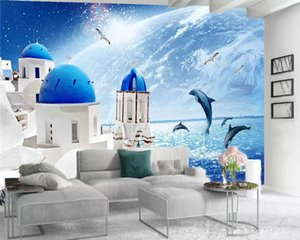 Romantic Landscape 3d Wallpaper European-style White Palace Seascape Indoor TV Background Wall Decoration Mural Wallpaper