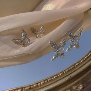 Projeto coreano Hot Sale borboleta brincos para mulheres Zircon jóias de luxo strass Zircon brincos Jóias
