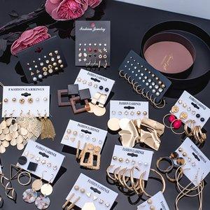 Hot Sale 5-piece set Fashion Korean Acrylic Drape Bohemian Geometric Round Earrings New 2020 Party accessories