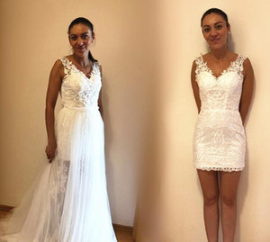 Boho Detachable Train Wedding Dresses with Overskirt Removable Skirt V Neck Sleeveless Lace Tulle Bridal Gowns Custom Size L175