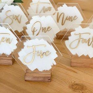 Números de mesa de boda acrílico pintados a mano personalizados con caligrafía pintada número de espaldas para la decoración de boda moderna rústica