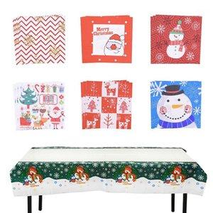 20 قطع منديل عيد نافيداد سانتا كلوز ندفة الثلج ورقة منديل عيد الميلاد زينة للمنزل عيد الميلاد الجدول القماش ديكور navidad1