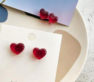 new red peach earrings winter cute mini earrings for women Korea transparent wine red peach heart love stud22