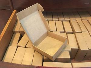 2019 Natural papel kraft presente caixa de embalagem, caixa de artesanato pequeno papel kraft dobrável, marrom artesanal sabão papel cartão caixa11