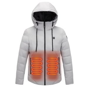 New Electric Heated Jacket Abdomen Arms Back Heated Outdoor Waterproof Sports Winter Coat With Cap USB Heating Warm Clothes