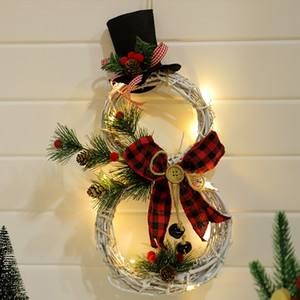 LED Xmas Wreath Hanging Pendants Wall Ornament Snowman Tree Pattern Kids Present Home Decoration Christmas Party New Year