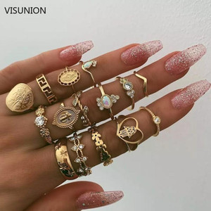 15pcs set MIDI Finger Ring Set For Women Girl Retro Beauty Head Gold Coin Cross Patterned Knuckle Party Rings Joints Rings