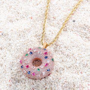 Donut Pendant Necklace Coloured Zircon Doughnut Ornaments Iced Out CZ Stone Necklaces Sweet Buns Pendant Men