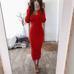 Sexy V-neck Knitted Sweater Dress Women Long Sleeve Midi Bodycon Dress Black White Red Stretchy Knitted Winter Dress vestidos 201127