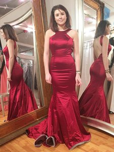 Simple Burgundy Mermaid Prom Dresses Satin Sexy Women's Long Formal Evening Party Dress