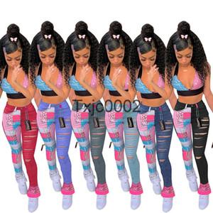 Designer Sexy Women Jeans Printed Tassel Slit Denim Pencil Pants Casual Straight Pants Ladies Fashion Leisure Trousers