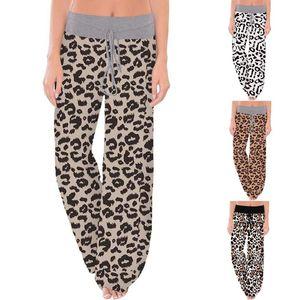 2021 Calças das Mulheres Mulheres Comfy Stretch Leopard Imprimir Drawstring Largura Lança Lounge Calças Mulheres # 35