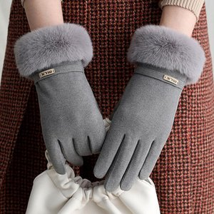 Sparsil morno mulheres Cashmere veludo Glove Touch Screen botão Driving Windproof Carta feminina inverno Esporte Ciclismo Mittens