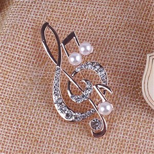 Note brooch girl accessories gold crystal brooch rhinestone pin 5.6cm * 3cm social occasion party wear jewelry