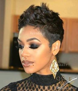 Cabelo Humano Capless Perucas Pixie Corte Curto Cabelo Humano Peruca Peruca Glasseless Lace Front Human Human Wigs para Afro-americanos Melhores perucas brasileiras