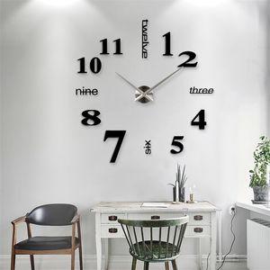 New Home decoration big 27 37 47inch mirror wall clock modern design 3D DIY large decorative wall clock watch wall unique gift LJ201212